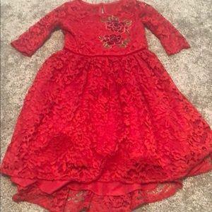 Fancy  🎅🏼 dress red lace princess size 6